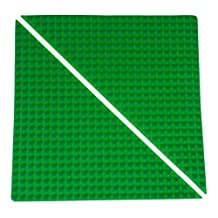 "Premium 15.5"" x 15.5"" Double Sided Right Isosceles Triangle Baseplate Mat 2 Pack - Green Rollup Base Plate with Large/Small Pegs - Compatible with All Major Large/Standard Size Brands - Patent Pending"