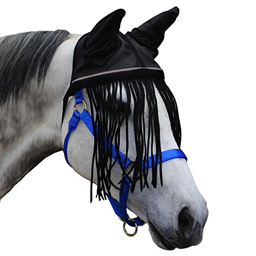 Derby Soft Nylon Mesh Fly Bonnet Veil for Horses with Ears, Fringes, and Reflective Trim - Multiple Colors -All Sizes