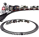 Classic Toy Train Army Style Military Camoflauge w/ Real Smoke Signature Lights and Sounds – Full Set with Locomotive Engine and Cars, Tracks, Tank, Airplane, Train