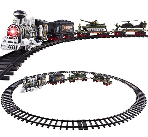 Classic Toy Train Army Style Military Camoflauge w/ Real Smoke Signature Lights and Sounds – Full Set with Locomotive Engine and Cars, Tracks, Tank, Airplane, Train (Real Train Set)