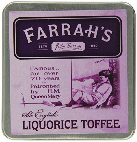 (Farrah's of Harrogate Toffee - 100g Olde Fashioned 'Liquorice' Flat Tin)