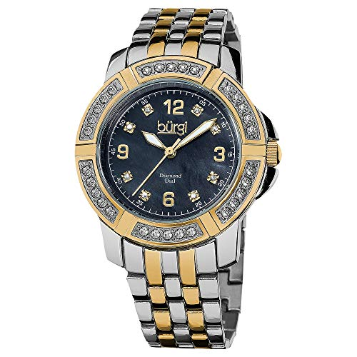 Burgi Women's Diamond Bracelet Watch - Colored Mother-Of-Pearl Dial - Crystal Filled Bezel with Genuine Diamond Hour Markers Stainless Steel Bracelet - BUR069