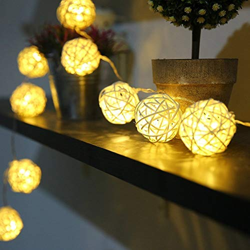 (Zoeson Woven Rattan Lamp/String Lights 3m/9.8ft 20 LED Warm White Rattan Balls Fairy Lights Battery Powered for Indoor Bedroom Christmas Wedding Home)