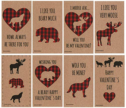 (Buffalo Plaid Bear, Moose, Wolf Valentines (Set of 32) for Valentine's Day by Nerdy Words)