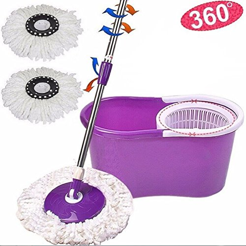 [Fashion 360¡ã Easy Clean Floor Mop Bucket 2 Heads Microfiber Spin Rotating Head Purple] (Mop And Bucket Costume)