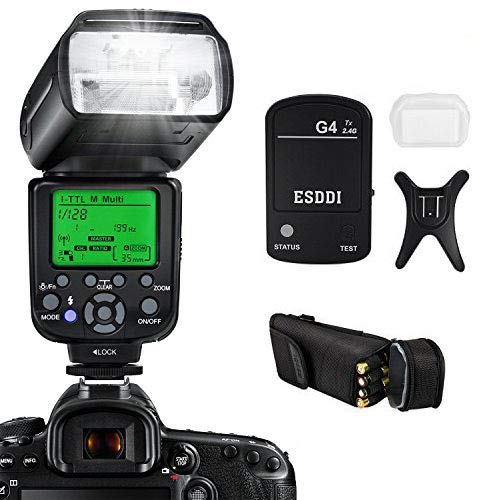 Camera Flash for Nikon,DSLR Camera,I-TTL 1/8000 HSS GN58,Multi,ESDDI Wireless Camera Flash Set Include 2.4G Wireless Flash Trigger,Cold Shoe Base Bracket and Accessories from ESDDI