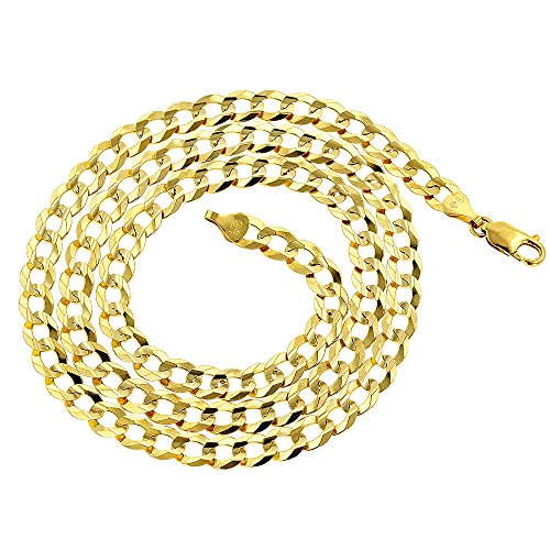 IcedTime Solid 10K Yellow Gold Italy Cuban Curb Link Chain Necklace 3mm Wide 24'' Long with Lobster Clasp by IcedTime (Image #1)