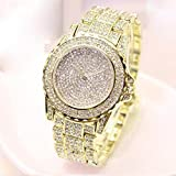Gotd Diamond Sport Digital Wrist Watch for Women Girl Casual Quartz Band Strap Stainless Steel Analog Wholesale Luxury Fashion Casual Gift Birthday Gilter Bling (Gold)