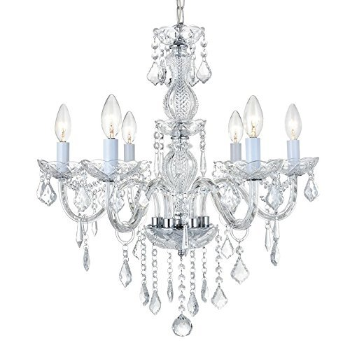 Simon Fashion Modern Crystal Glass Chandelier, Candelabra Lighting Fixture with Adjustable Hanging Height For Dining Living Room Foyer Office D23.6″ X H22.8″