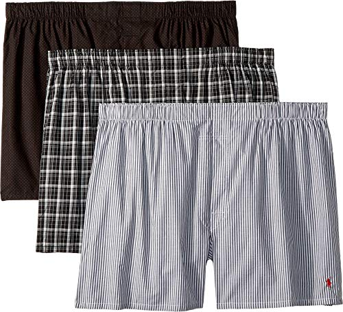 Polo Ralph Lauren Men's 3-Pack Classic Fit Packaged Woven Boxers Polo Black/Dover Stripe/Thomas Plaid Large (Black Woven Boxer)