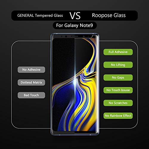 Roopose Galaxy Note 9 Screen Protector Tempered Glass,3D Curved Full Coverage Liquid Dispersion Tech Repair Function Easy Install Kit for Samsung Galaxy Note 9 (2018) -2 Pack