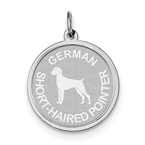 (Sterling Silver Engravable German Shorthaired Pointer Disc Charm (1IN long x 0.7IN wide))