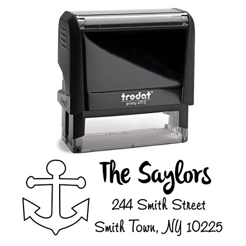 Black Ink, Nautical Anchor Personalized Custom Self Inking Return Address Stamp - Modern, Great for Sending Invitations for Birthday, Christmas, Holidays, Wedding Invites and Office Mail Stampers