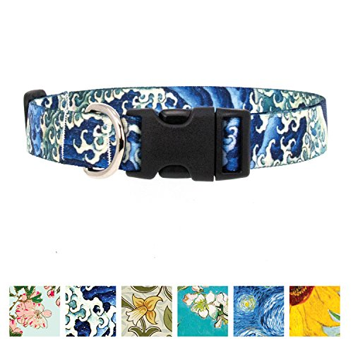 Buttonsmith Hokusai Waves Dog Collar - Fadeproof Permanently Bonded Printing, Military Grade Rustproof Buckle, Resistant to Odors & Mildew, Choice of 5 Sizes, Made in The USA