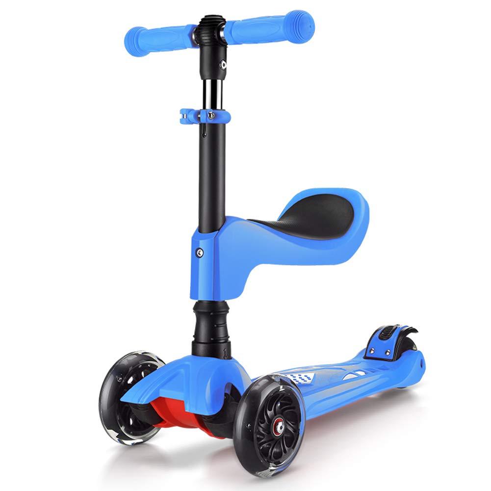 安価 キックスクーター三輪車スケートボードペダル式乗用スタントスクーター折りたたみ 青 B07H7GTK51 Tバーハンドル調節可能な座席付きLEDライトアップホイール付き 青 B07H7GTK51 青 青, マエサワチョウ:db96bee2 --- a0267596.xsph.ru