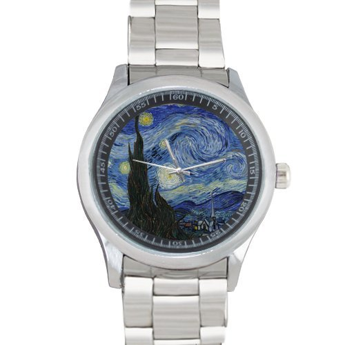 Personalized Watch Vincent Van Gogh Starry Night in Water Metal Watch(40mm dia,stainless band)]()