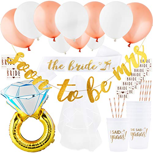 Bachelorette Party Decorations Kit - Bridal Shower Decorations - Bridal Veil, Satin Sash, Gold Banner, Party Balloons, Ring Foil Balloon, Party Cups, Rose Gold Straws, Bride, Bride Tribe Tattoos