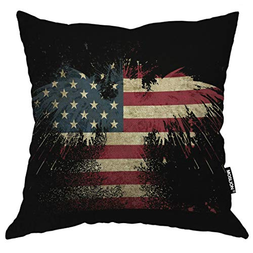 Moslion Cotton Linen Square Decorative Throw Pillow Covers, Bald Eagle American Flag US Flag Stars Stripe Flag Pillow Case Cushion Cover for Sofa Bedroom Livingroom Camping Car Pillow Sham 18x18 Inch