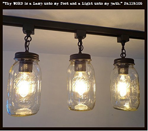 Mason Jar TRACK LIGHTING Trio NEW Quarts
