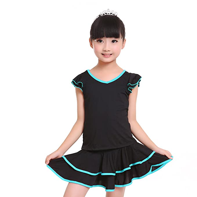 588a93adc4 XFentech Girls Latin Dance Dress Ruffles Short Sleeve V Collar 2 Pieces Children  Performance Competition Stage