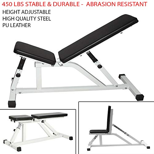 Sunnady 450 Lbs Stable & Durable Indoor Adjustable Barbell Fitness Flat Incline Decline Bench Gym Weight Workout Abrasion Resistant & Abrasion Resistant Used as a Dumbbell Stool