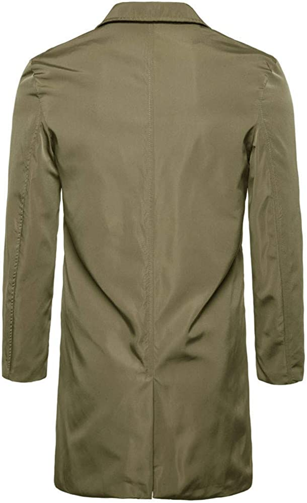 FRAUIT Zweireiher Mantel Herren Slim Fit Lang Warm Wolle Winter Mantel Poliertes Wildleder Slim Fit Trenchcoat