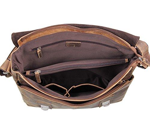 E-Bestar para hombre Vintage piel auténtica cartera hombro bolso bandolera (marrón)