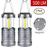 LED Camping Lantern - Moobibear 500lm LED Camping Lanterns with Magnetic Base, 30 LEDs COB Technology Battery Powered Water Resistant Collapsible Lantern for Night Fishing, Hiking, Emergencies, 2 Pack