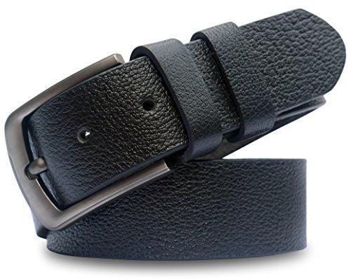 Grain Dress Belt - MT Men's Full Grain leather Belt for Jeans, 1.5'' Soft and Thick natural Grain leather- Black (Black, 34)