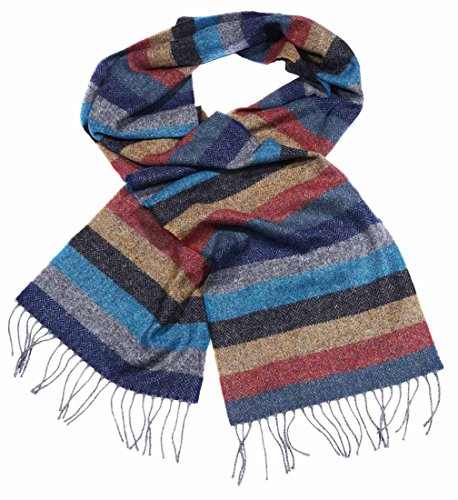 (Multicolour Standard Fringed Lambswool Scarf with Striped Herringbone Tweed Design)