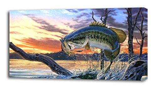 Large Mouth Bass Fish CANVAS PRINT Wall Decor Art Giclee NatureP135, Small