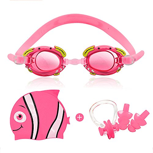 StillCool Kids Swim Goggles Set With Swim Cap - Swim Goggles For Kids (Age 3-15) With Crystal Clear Vision Anti-Fog 400 UV Protection Soft Health Silicone Frame (Pink)