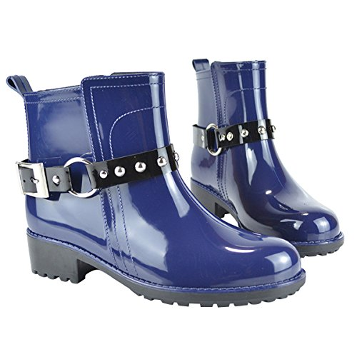 Carissime Donne Del Tempo Stivali Da Pioggia Alla Caviglia Cinghie Con Fibbia Impermeabili Slip On Boot Blu