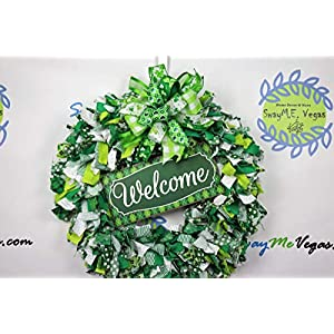 Welcome St. Patrick's Day Fabric Wreath, Green White Door Decor, Irish Holiday Wall Adornment, Plaid Welcome Sign, Handmade Clover Bow 9