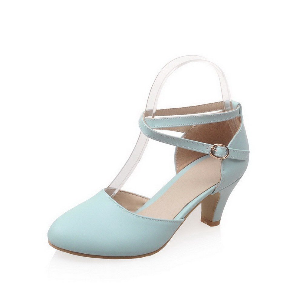 VogueZone009 Women's Round Closed Toe Kitten Heels Buckle Solid Pumps Shoes, Blue, 43 by VogueZone009