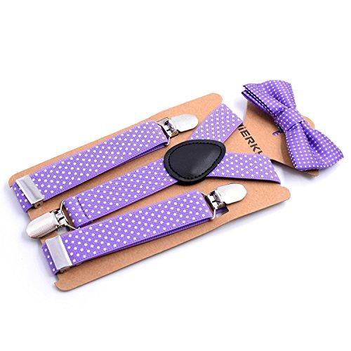 - Child Kids Boys Suspenders Bowtie Set - Adjustable Suspender Set for Boys and Girls (Light Purple)