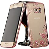 DORRON Samsung Galaxy J5 Prime SM-G570F Rose Gold - New Shockproof Luxury Bling Transparent Auora Little Flower Secret Garden Series Electroplated Edge Shining Sparkling Swarovski Crystal Diamond Impression Rhinestones Beautiful Unique Cute Fancy Slim Fit Light Weight Elegant Trendy Stylish Designer Soft TPU Back Case Cover For Samsung GalaxyJ5 Prime SM-G570F - Rose Gold with Pink Flower