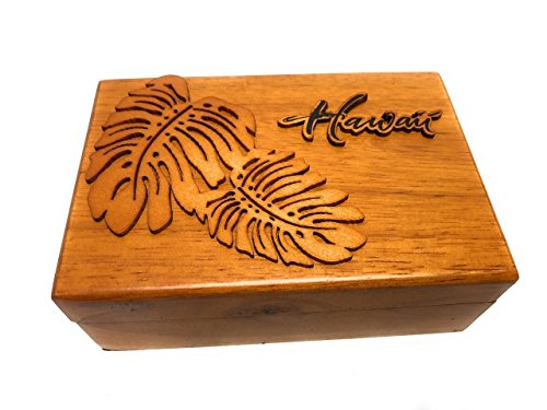 Tikimaster Wooden Jewelry Keepsake Box w/Monstera Design | #R5272
