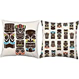 RoomCraft Set of 2 Tiki Men Throw Pillow Covers 16x16 Square White Indoor-Outdoor Shams