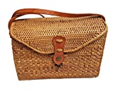 Rattan Nation - Rectangular Woven Rattan Bag (Leather Closure), Ata Basket Bag