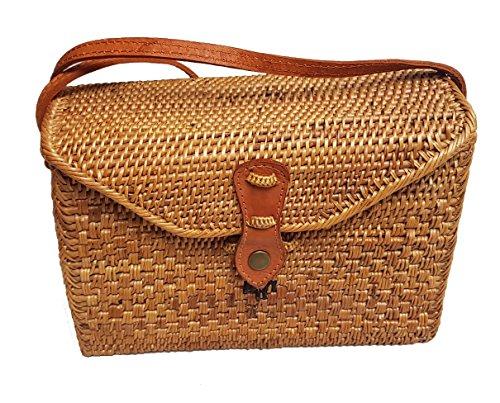 Rattan Nation - Rectangular Woven Rattan Bag (Leather Closure), Ata Basket Bag