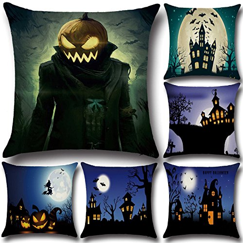 Cases - Halloween Pumpkin Bat Ghost Pattern Pillowcase Cotton Linen Throw Cover Seat Home Decoration Sofa Decor - Ghostwrite Normal Traffic Shade Design Spectre Form - 1PCs -