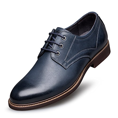 ZRO Men s Premium Genuine Leather Casual Lace-up Shoes Blue ... 010add93d