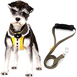 smalllee_lucky_store Pet Stylish No Pull Vest Harness Leash Set for Small Dog Cat, Yellow, Medium