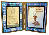 First Communion Chalice Stained Glass Folding Picture Frame, 7 Inch