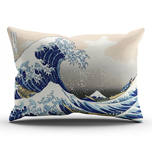 Fanaing Bedroom Custom Decor Great Wave Lumbar Pillowcase Soft Zippered Blue and Coral Throw Pillow Cover Cushion Case Fashion Design One-Side Printed Lumbar 12X24 Inches