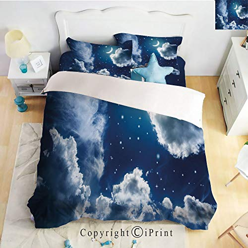 Homenon Classic Sheets 4 Piece Bed Sheet Set,Cartoon Kids Children Fairytale Themed Clouds Alluring Moon Lunar Image Decorative,Dark Blue and White,Twin Size,Softest Bed Sheets and Pillow -
