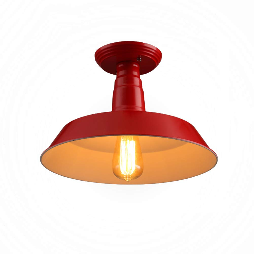 Vintage 100% metal Deckenleuchte industrie, Oberflächenmontage Deckenleuchte wohnzimmer Edison-lampe inkl. Leuchte Für Schlafzimmer-Rot 26  24cm