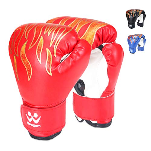 (Newgam Kids Boxing Gloves, Children Junior Sparring Kickboxing Training Gloves,Junior Punch Bag MMA Training Muay Thai Mitts - PU Leather - 5oz for 3 to 14 YR, Red)