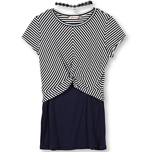 Speechless Big Girls' Twisted Top and Layering Tank with Necklace, White Navy, XL
